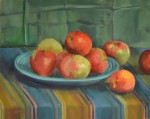"Honorable Mention: Bobbie Suratt; ""Still Life With Apples"" Oil on Canvas"