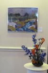 "Marie Fassilino's floral interpretation of WSA artist Joan Onofrey's collage ""Blue River Landscape"""