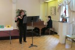 Randa Khuri playing flute and Barbara Hayes Playing live music at the WSA Spring Reception and Mini Art in Bloom event, May 4th 2014.