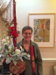 "Helga Bergland floral intrepation of WSA Artist Nan Rumpf's watercolor: ""Intent"" (Nan Rumpf is featured in this photo)"