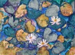 "WSA Honorable Mention: Joan Onofrey for ""Water Lily Trio"", Collage with pastel"