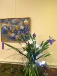 "Artist: Joan Onofrey ""waterlily Trio"", collage with pastel; Floral by Heidi Kost-Grossman"