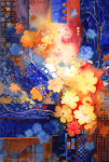 "WSA Honorable Mention: Sally Meding for ""Uptown Floral"", watercolor"
